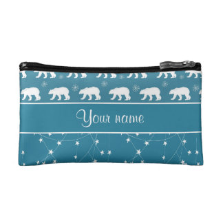 Polar Bears Twinkling Stars Personalized Cosmetic Bag