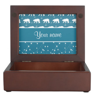 Polar Bears Twinkling Stars Personalized Keepsake Box