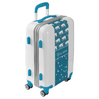Polar Bears Twinkling Stars Personalized Luggage