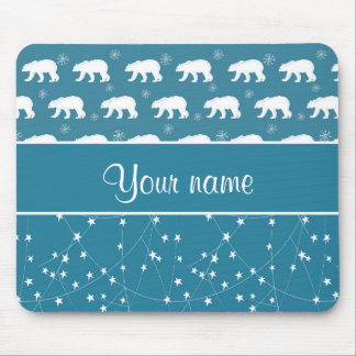 Polar Bears Twinkling Stars Personalized Mouse Pad