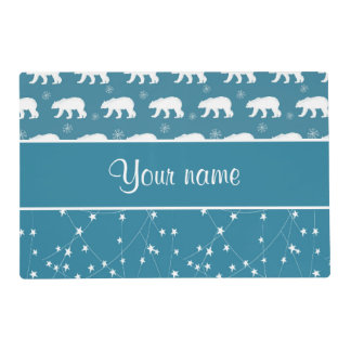 Polar Bears Twinkling Stars Personalized Placemat