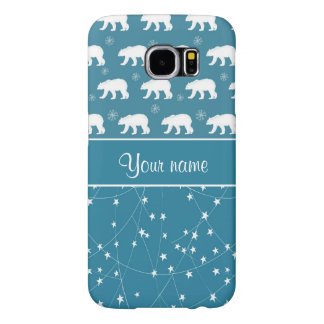 Polar Bears Twinkling Stars Personalized Samsung Galaxy S6 Case