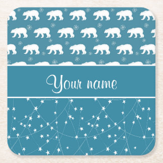 Polar Bears Twinkling Stars Personalized Square Paper Coaster