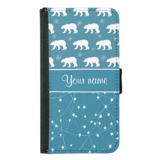 Polar Bears Twinkling Stars Personalized Wallet Phone Case For Samsung Galaxy S5