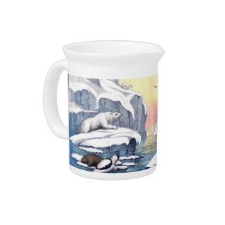 Polar Bears, Walrus, And Seals Drink Pitcher