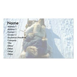 Polar Eskimo asleep on sled Business Card Template