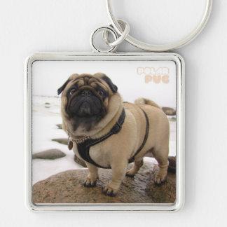 Polar Euro Pug Premium Square Keychain