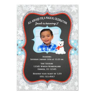 Polar Express Boy Photo Birthday Invitation
