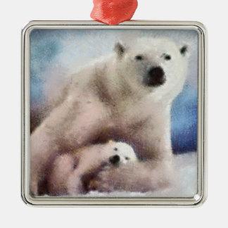 Polar Mom and Cub Square Metal Christmas Ornament