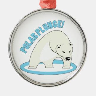 Polar Plunge! Round Metal Christmas Ornament