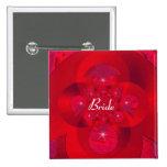 polar red, Bride Pinback Buttons