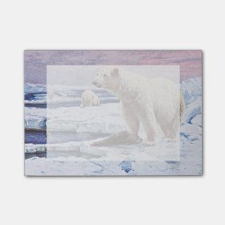 Polar refiere arte de las masas de hielo flotante post-it® notas