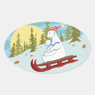 Polar refiere el trineo colcomanias de oval personalizadas