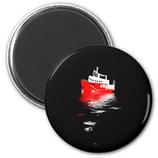 Polar research ship reflected in the night waters. magnet
