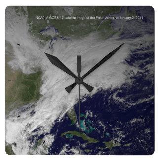 Polar Vortex 2014 North American Cold Wave Square Wall Clock
