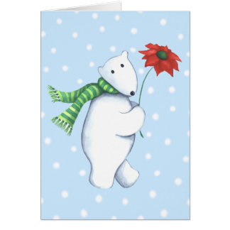 Polarbear with Flower Greeting Card