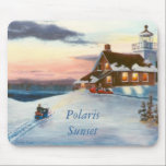 "Polaris Sunset Mousepad<br><div class=""desc"">From an original acrylic painting by Brenda Thour of Sherwood Lighthouse in Wisconsin,  during a beautiful sunset on a snow covered winters&#39; day and two people snowmobiling.  Copyright by Brenda Thour 2004.</div>"