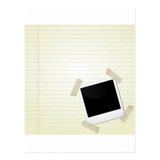 polaroid on a page postcard