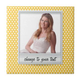 Polaroid on white & sunny yellow polkadot tiles