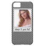 Polaroid photoframe on white & black polkadot iPhone 5C case