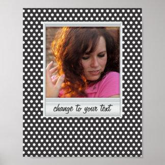 Polaroid photoframe on white & black polkadot poster