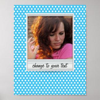 Polaroid photoframe on white & blue polkadot poster