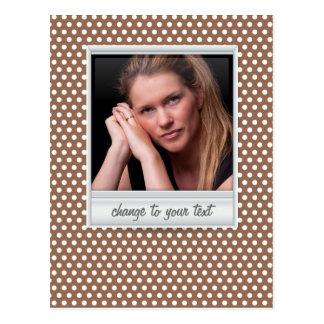 Polaroid photoframe on white & brown polkadot postcard