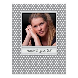 Polaroid photoframe on white & grey polkadot postcard