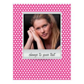Polaroid photoframe on white & pink polkadot postcard