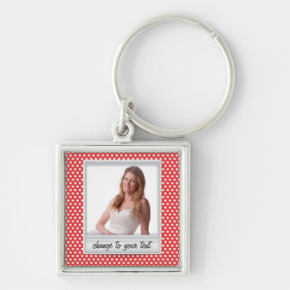 Polaroid photoframe on white & red polkadot Silver-Colored square keychain