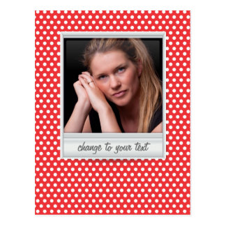 Polaroid photoframe on white & red polkadot postcard