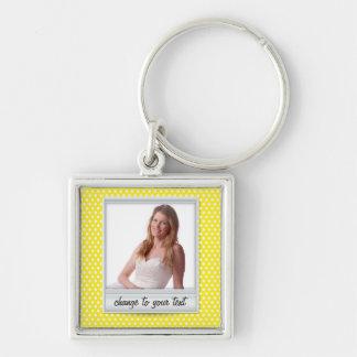 Polaroid photoframe on white & yellow polkadot Silver-Colored square keychain