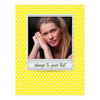 Polaroid photoframe on white & yellow polkadot postcard