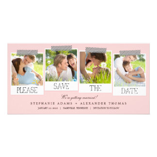 Polaroid Prints Save The Date Photo Cards - Pink
