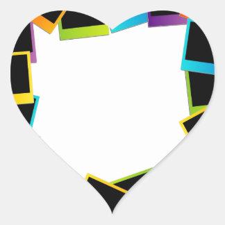 Polaroides coloridas del marco polaroid pegatina en forma de corazón