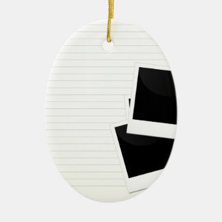 Polaroids on a single lined paper Double-Sided oval ceramic christmas ornament