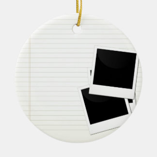 Polaroids on a single lined paper Double-Sided ceramic round christmas ornament