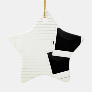 Polaroids on a single lined paper Double-Sided star ceramic christmas ornament
