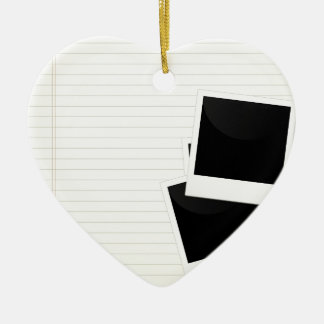 Polaroids on a single lined paper Double-Sided heart ceramic christmas ornament