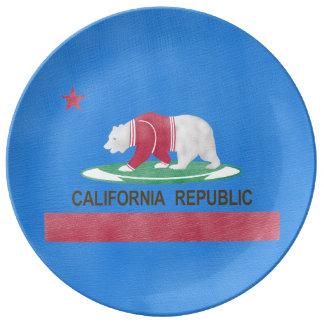 Polat Bear in Cali Funny Illustration Porcelain Plate