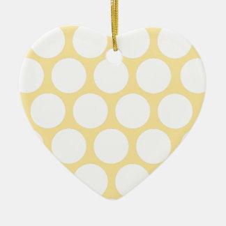 Polca amarilla doty adorno de cerámica en forma de corazón