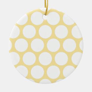 Polca amarilla doty adorno redondo de cerámica