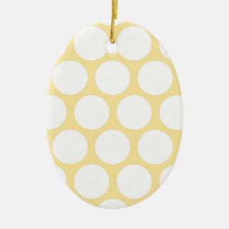 Polca amarilla doty adorno ovalado de cerámica