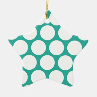 Polca azul doty adorno de cerámica en forma de estrella