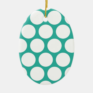 Polca azul doty adorno ovalado de cerámica
