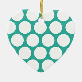Polca azul doty adorno de cerámica en forma de corazón