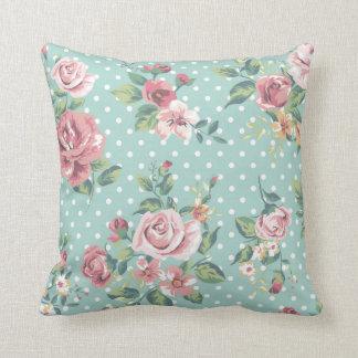 Polca rosada blanca del trullo floral elegante cojin