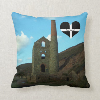 Poldark Country Mine Ruins Cornwall England Throw Pillow