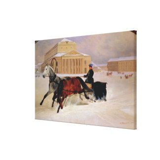 Pole Pair with a Trace Horse at  Bolshoi Canvas Print