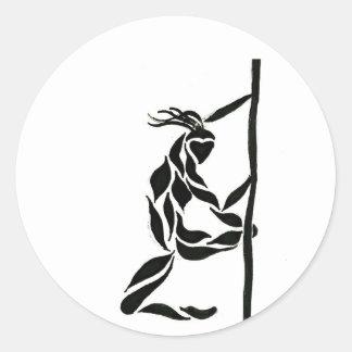 Pole Reverse Grip Spin Classic Round Sticker